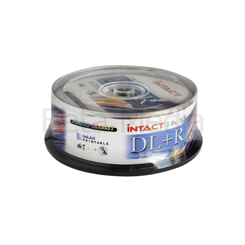 25 x Intact 8.5GB DVD+R DL Dual layer 8X - Full Hub Glossy Printable DVD