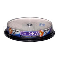 10 x Philips DVD-RW 4x Rewritable blank discs