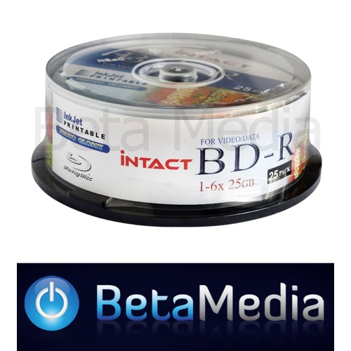 25 x Intact Blu-ray BD-R 6x 25GB Glossy Printable - High Capacity Blu ray Discs